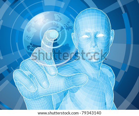Corporate style background concept. Futuristic blue figure selecting a floating world globe. - stock photo