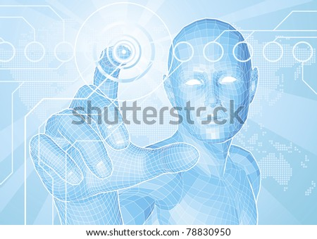 Corporate style background concept. Futuristic blue figure touching button with world map in background. - stock photo