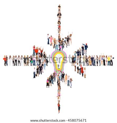 Corporate Teamwork Team over White  - stock photo