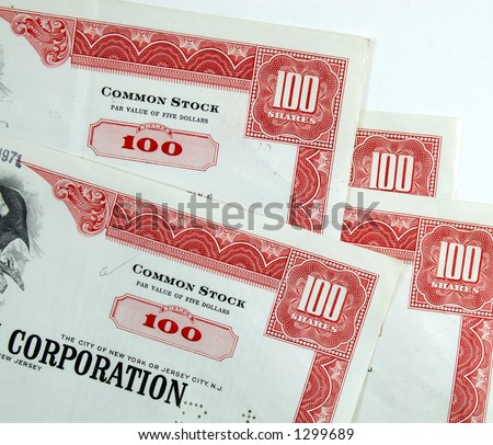 Corporation common stock shares - stock photo