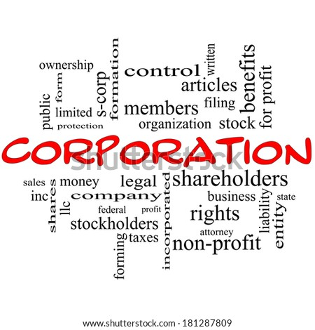 Corporation Word Cloud Concept in red caps with great terms such as shareholders, legal, entity and more.