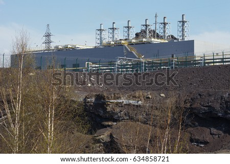 Corps of industrial plant with adjacent contaminated territory. Karabash zone of ecological disaster.