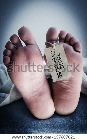 Corpse of a drug addict.  - stock photo