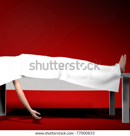Corpse under white sheet on autopsy table Feet and one arm exposed. Red graduate background. Illustration - stock photo