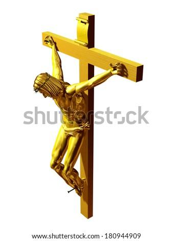 Corpus christi, Jesus on the cross in gold - stock photo
