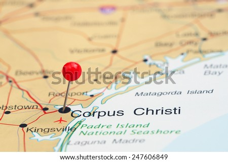 Corpus Christi pinned on a map of USA