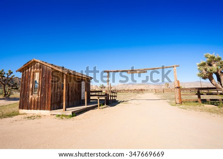 Corral for horses in the western pioneer town - stock photo