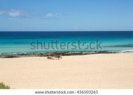 Corralejo Beach on Fuerteventura, Canary Islands - stock photo