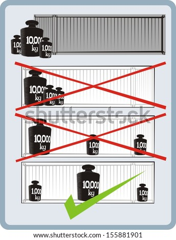 Correct cargo stowage in a shipping container - raster cartoon leaflet illustration - stock photo