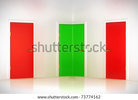 Correct choice: conceptual corner door in abstract room