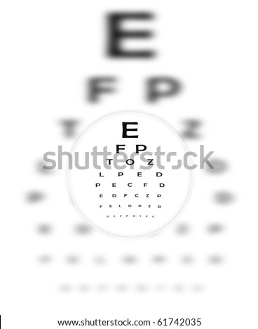 Corrective Contact Lens Focuses Eye Chart Letters Clearly.  The Eye Chart is shown blurred in the background. - stock photo