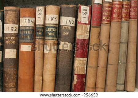 Correspondence and finance records in company archives - stock photo