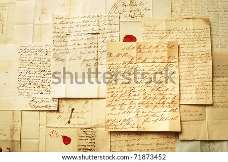 Correspondence from the 1800's Landscape - stock photo