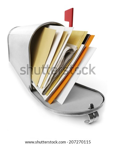 Correspondence Mailbox full with correspondence, white background - stock photo