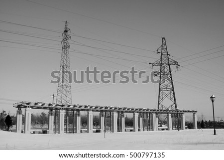 Corridor and pylon in the snow, closeup of photo