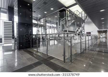Corridor and stairs in modern office building
