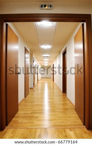 corridor floor in office building - stock photo