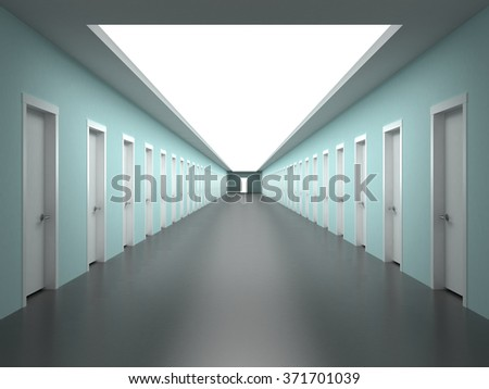 Corridor in a building with the prospect of endless offices