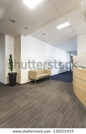 Corridor in a contemporary and new office - stock photo