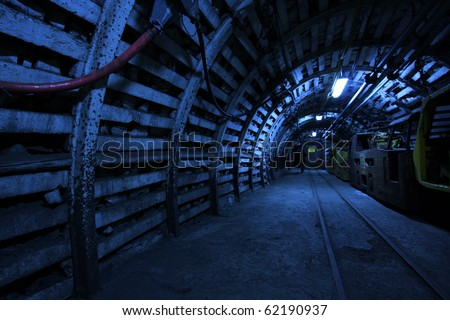 Corridor in a historical mine in Poland - stock photo