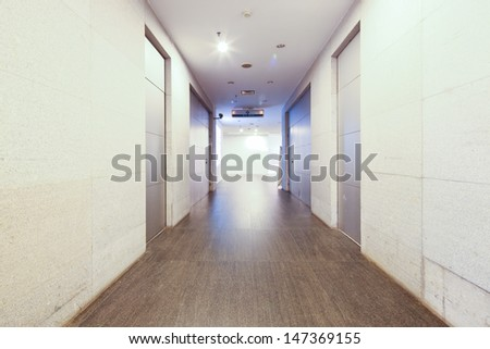 corridor in building china guangdong Museum of Fine Arts - stock photo