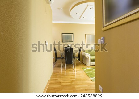 Corridor in hotel room - stock photo