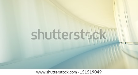 Corridor in office building, business concept, motion blur - stock photo