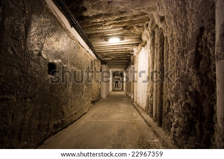 Corridor in salt mine in Wieliczka. Poland - stock photo