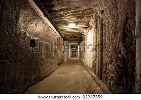 Corridor in salt mine in Wieliczka. Poland - stock photo