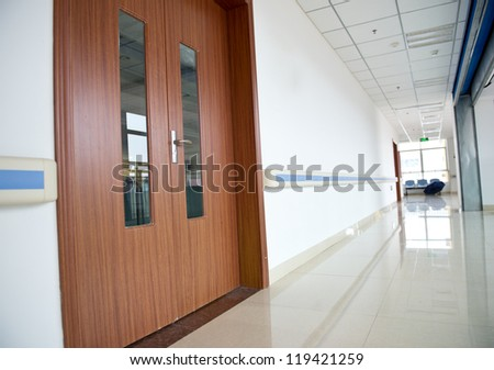 corridor in the hospital. hospital interior - stock photo
