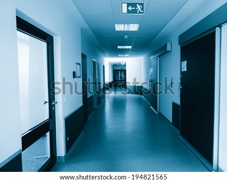 corridor in the hospital.  hospital interior architecture - stock photo