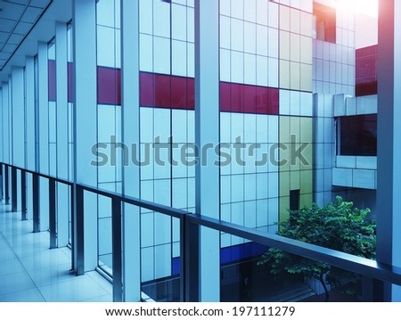 corridor in the modern office building. - stock photo