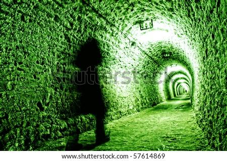 Corridor in the salt mine - stock photo