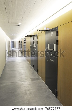 Corridor of a modern prison - stock photo