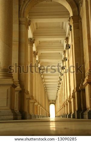 Corridor of columns, hallway - stock photo