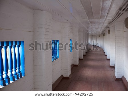 Corridor of Pechersk Lavra, Kiev - stock photo