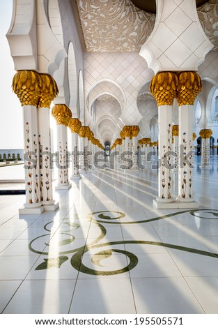 Corridor of Sheikh Zayed Mosque Abu Dhabi, which is intricately decorated and designed - stock photo