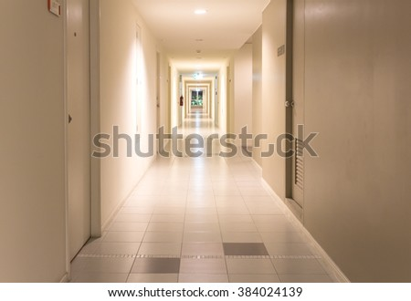 Corridor of the apartment building. - stock photo