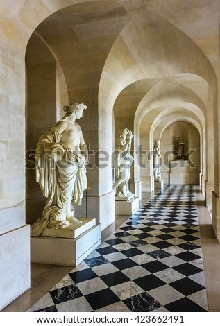 corridor of the castle of versailles france may 17th 2016 small corridor