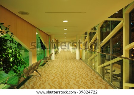 corridor of the city hall, edmonton, alberta, canada - stock photo