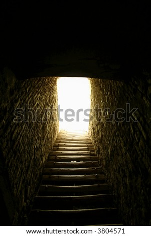 Corridor to the light - stock photo