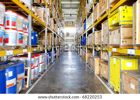 Corridor with big shelves in distribution storehouse