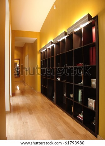 corridor with big shelving - stock photo