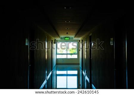 Corridor with light at window, Thailand. - stock photo