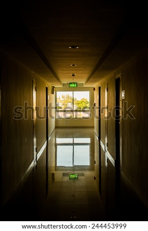 Corridor with light at window, Thailand. unfocused - stock photo