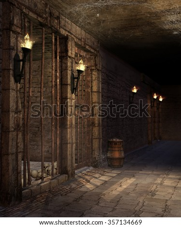 Corridor with torches, barrels and skulls in a castle dungeon - stock photo