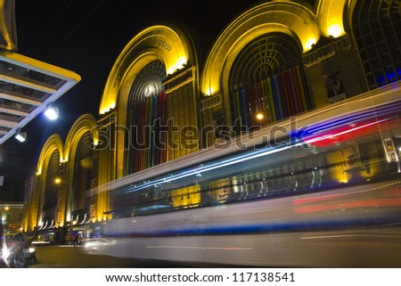 Corrientes Street by night. Abasto building facade at Buenos Aires, Argentina - stock photo