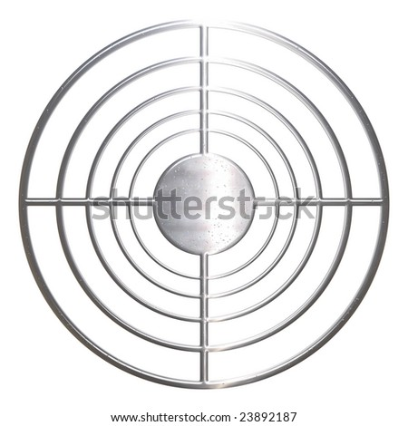 Corroded concentric metal sniper over white background - stock photo
