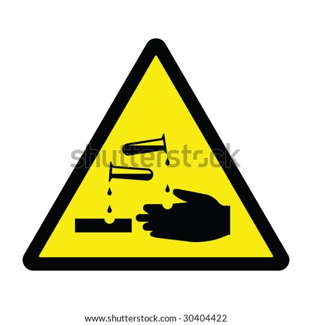 Corrosive Hazard Sign - stock photo