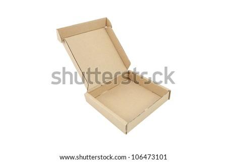 Corrugated box isolated on white - stock photo